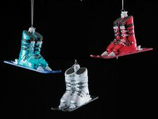 """NB1016 Noble Gems 6"""" Ski Boots on Skis Glass Ornament Winter Sport Snow Skiing"""