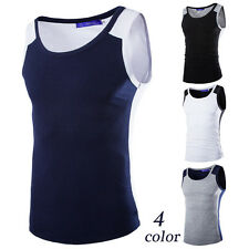Mens Fashion T-Shirt Cotton Sleeveless Muscle Shirts Vest Tank Tops Tee y21