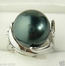 Genuine Natural 14mm Black South Sea Shell Pearl Wedding Jewelry Ring Size 7/8/9