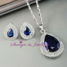 18K White GOLD GF Blue SAPPHIRE Pear NECKLACE SET With SWAROVSKI CRYSTAL X4112