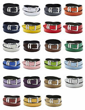 Men's Belt Reversible Bonded Leather Belts Silver-Tone Buckle Over 20 Colors