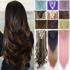 """Ombre Long 18-26"""" Hair Extensions 8pcs Real Natural Clip In Hair Extensions Frr"""