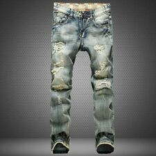 Cool Men's Retro Vintage Denim Jeans Ripped Skinny Trousers Slim Straight Pants