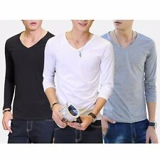 New Mens Cotton Blouse V-Neck Crew Neck Top Long Sleeve Casual T-Shirt Slim Fit