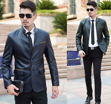 Mens Business Jacket NWT Stand Collar Outwear Slim Leather Coat Utility Handsome