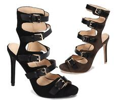 LADIES FAUX SUEDE HIGH HEEL CUT OUT BUCKLE PARTY PEEPTOE SANDALS SHOES 3-8