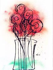 "Original Watercolor & Ink Abstract Print ""Red Flowers In Vase"" By D Freels #116"