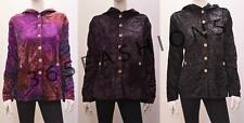 GOTHIC HIPPIE BOHO TEXTURED EMBROIDERED FLORAL SWIRL VELVET HOODED JACKET