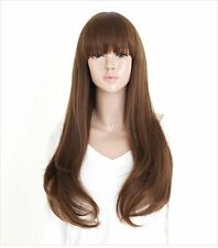 Women long full wig Liu Qi Bangs Party Cosplay Long curly hair Temperature wig