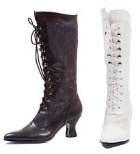 ELLIE 253-REBECCA Women's Pointy Toe Lace Up Mid Calf Chunky Boots With Lace