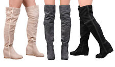 Womens Ladies Suede Over Knee Boots Shoe Wedges Heel Thigh High Stretch Faux Fur