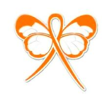 Orange Ribbon Awareness Butterfly Pin Multiple Sclerosis Hunger Cancer Causes