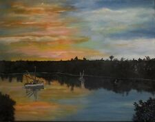 Original Hogs Island water  colorful landsscape Painting by Dia, EBSQ