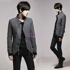 Mens Korean Slim Fit Leisure Jacket Blazer Coats Lapel Two Button Business Vogue