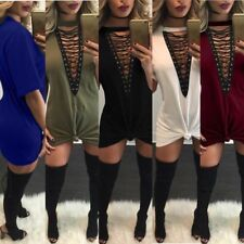 New Fashion Sexy Women V Neck Casual Tops Lace Up Tie Top Shirt Mini Club Dress