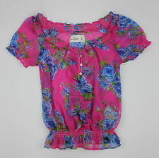 NWT ABERCROMBIE KIDS GIRLS KNIT FLORAL TOP / SHIRT SIZE SMALL