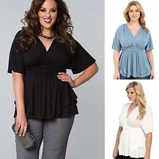 2017 New Women Short Sleeve Top Bodycon Wave Hem Ruched Blouse Oversized T-shirt