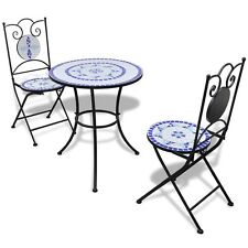 New Mosaic Bistro Table 60 cm with 2 Chairs Blue / White Garden Patio Furniture