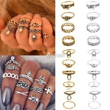New Vintage Style 10PCS/Set Finger Ring Alloy Punk Style Carve Decor Ring DZ8801