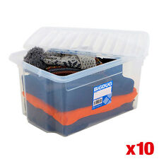 10 x Plastic Storage Boxes Large Containers With Lid Clear Box - 4 Sizes BiGDUG