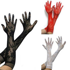 Lady Women Lace Long Evening  Prom Party Gloves Wrist Mittens Stretchy Gloves