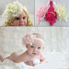 New Colorful Baby Girls Big Pearl Rose Flower Bow Hairband Soft Elastic Headband