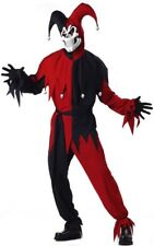 Evil Jester Mardi Gras Red Black Halloween Men Costume