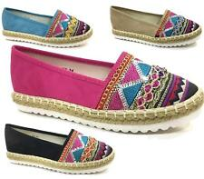 LADIES FLAT SUMMER SHOES ESPADRILLES CASUAL HOLIDAY COMFORT FAUX SUEDE PUMPS