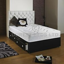 3FT 4FT6 DOUBLE 5FT KING SIZE FAUX LEATHER DIVAN BED + MATTRESS QUILTED