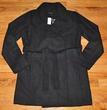 NWT Banana Republic Womens Black Wool Blend Belted Wrap Trench Coat Jacket $149