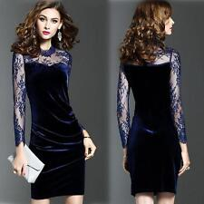 Women Velvet Lace Long Sleeves Tea Cocktail Party Evening Prom Gown Pencil Dress