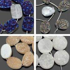 "7.5"" Druzy Quartz Agate Gemstone Side Drilled Flat Back Connector Cabochon Beads"