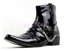 Mens Ankle Boots Punk Rock Western Pointy Toe Cowboy Watm Chain Buckle New Rock