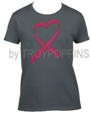 1-WOMENS CUT-BREAST CANCER PINK RIBBON HEART RACE WEAR GRAPHIC PRINTED TEE-SHIRT