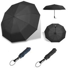Automatic Folding Umbrella 10-Rib Strong Windproof Super Wide 46 Inch Outdoor