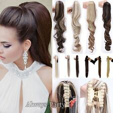 Jaw Claw On Ponytail Clip In Hair Extension Natural Curly As Remy Hair Piece UK