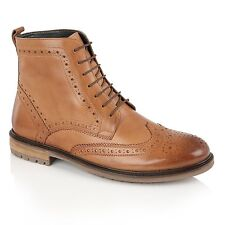 Silver Street London GERRARD Mens Casual Lace Up Leather Brogue Derby Boots Tan