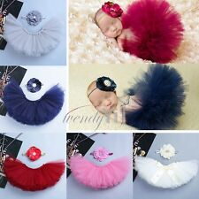 Baby Girl Infant Costume Tutu Skirt with Flower Headband Photo Props Outfit