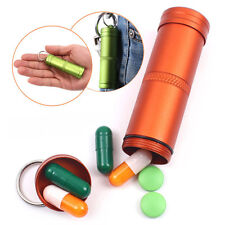 Waterproof Pill Box Case Container Capsule Seal Bottle Outdoor Survival 3 Colors