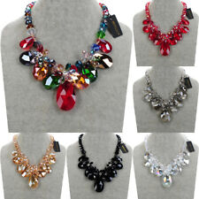 Fashion Silver Chain Chain Rhinestone Crystal Statement Pendant Bib Necklace New