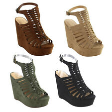 CityClassified IE51 Women's Caged Strappy Ankle Strap Platform Wedge Sandal