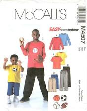 McCalls M4507 Boys Athletic Tops Shorts Pants Sewing Pattern
