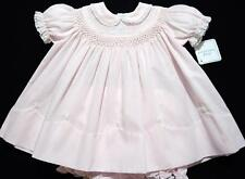 HAND~EMBROIDERED NB/3M SMOCKED 2PC BATISTE BABY DRESS W/FRENCH LACE~REBORN DOLL