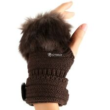 Fashion Winter Warm Women Button Faux Fur Knit Crochet Fingerless Gloves DZ8801