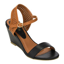Beston AB66 Women's Perforated Wedge Heel Ankle Strap Sandals Half Size Bigger