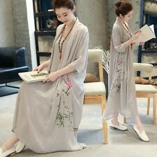 Women Vintage Casual Floral Loose Dress Cotton Linen 3/4Sleeve Maxi Gown Blouses