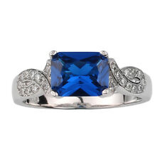 Sterling Silver Ring Women 7x9mm Simulated Blue Sapphire September Birthstone CZ