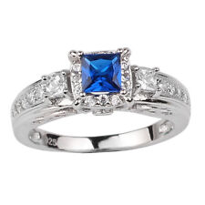 Classic 925 Sterling Silver Engagement Ring 4.5mm Simulated Blue Sapphire CZ