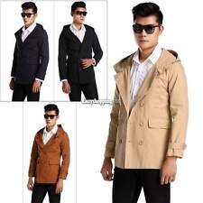 Men Coat Hoodies Outwear Jacket Trench Casual Fashion Double Breasted Slim Fit
