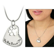 New Style Pet Memorial Pendant My Dog Rescued Me Paw Print Tag Heart Necklace TO